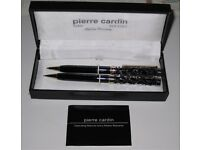 Pierre Cardin Black Enamel Ballpoint Pen and Pencil Set in Original Case