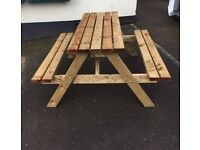 SOLID 6 SEATER WOODEN OUTDOOR PICNIC PUB TABLES BE QUICK & BE READY FOR COVID RESTRICTION RELEASE
