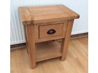 Solid Oak, Lamp / Side Table With Drawer, Totally Unused !!