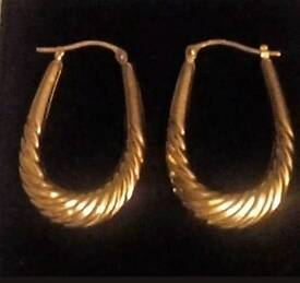 Nine carat gold fully hallmarked Creole hoop earrings