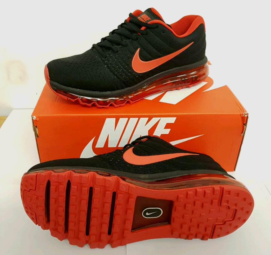 new concept fe8ea 9f96d Nike airmax 2017 black red men s trainers 7 to 11