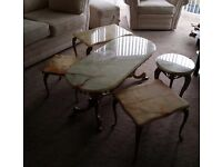 Heavy marble top set of tables with gilt legs