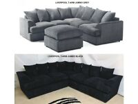 LARGE LIVERPOOL T ARM CORNER SOFA IN JUMBO GREY | SWIVEL CHAIR | UK EXPRESS DELIVERY
