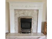 Baxi Valor balanced flue gas fire with hearth and surround