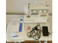 Brother sewing machine with manual and cover