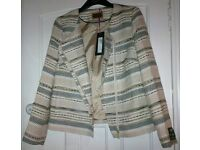 Marks & Spencer Per Una 'Nova Fides' Black, Cream & Gold Concealed Zip Blazer Jacket, UK 12 *New*