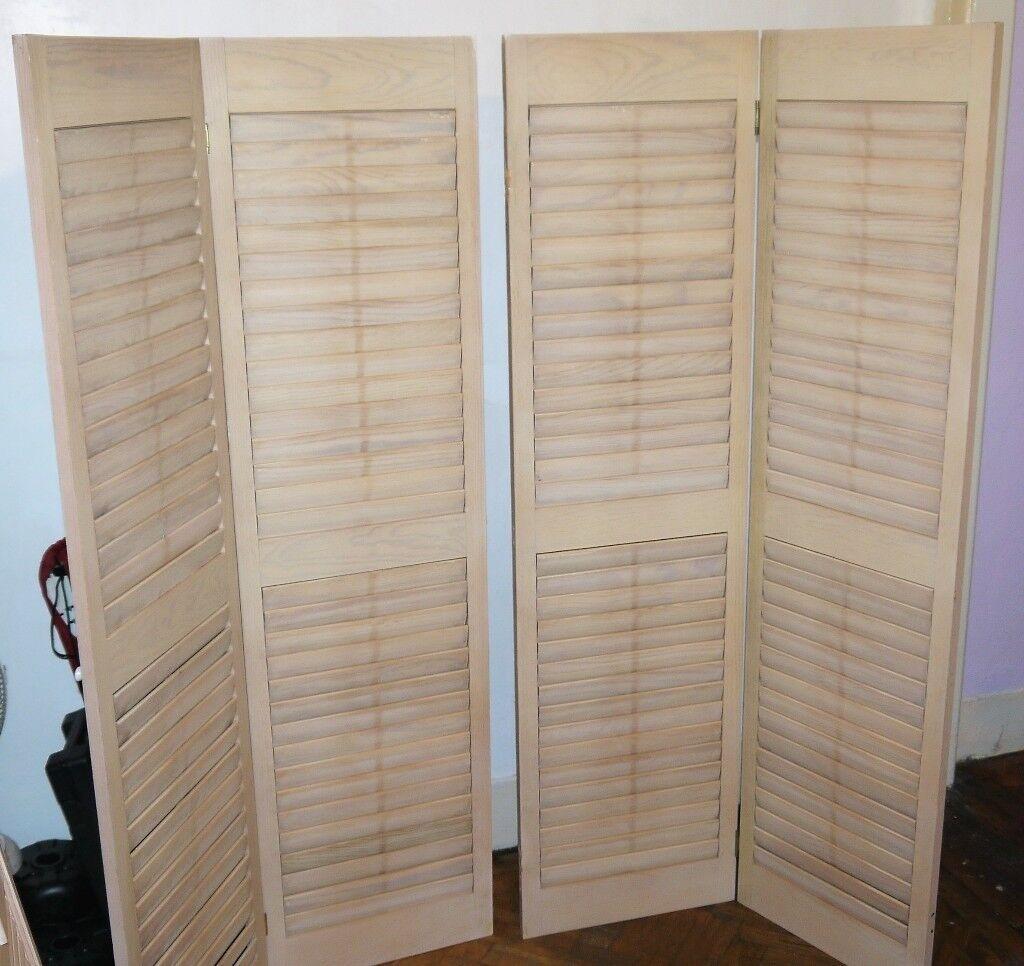 4 X Wooden French Style Interior Shutter Door Panels,149