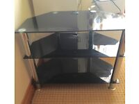 TEMPERED GLASS BLACK & CHROME TV UNIT TABLE £10
