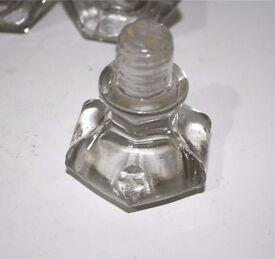 Vintage glass drawer / cabinet knobs handles pulls - hexagonal shape, screw