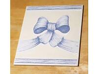 3 Porcelanosa dado wall tiles Liberty blue bow 200x200 mm. Unused. Others available