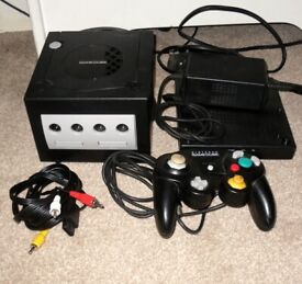 Nintendo Gamecube Black Console + Controller + PSU + AV Lead + Battery Pack