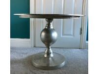 Silver metal round coffee table