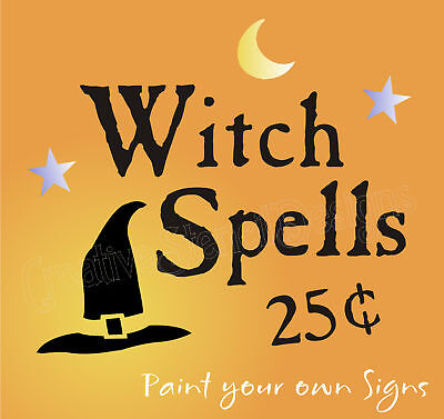 Stencil Witch Spells Black Hat Moon Stars Holiday Halloween wiccan craft signs - Witch Spells Halloween