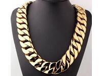 Mens Gold filled Chunky super heavy curb chain 24mm wide 70cm long stunning 477grams