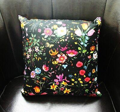 "NEW Authentic GUCCI FLORA floral Decorative Pillow 13"" Medium Black"