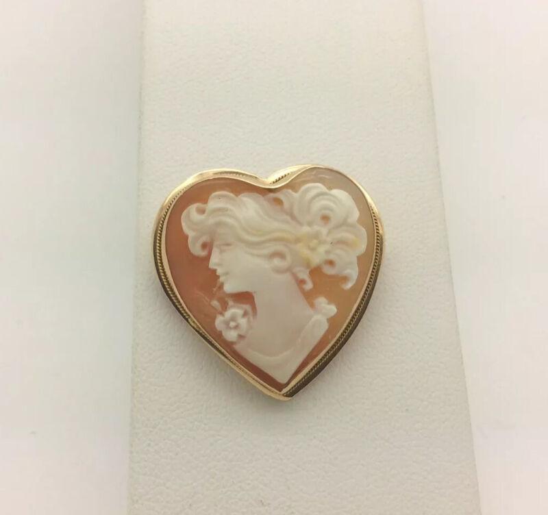 "Vintage 14k Heart Shaped Shell Cameo Pin Pendant 4.2 Grams 1"""