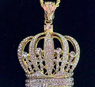 Solid 18K Gold Lab Diamonds BIG CROWN Pendant Chain Necklace *LIFETIME WARRANTY*