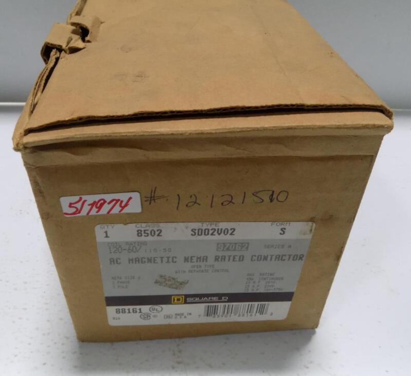 SQUARE D CLASS 8502 AC MAGNETIC NEMA RATED CONTACTOR SD02V02 FORM S NIB