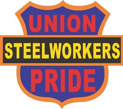 Steelworkers Union Pride On Shield Hard Hat Sticker Csw-3