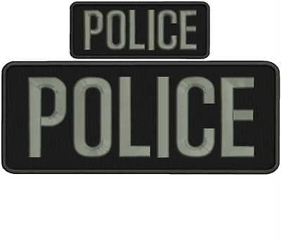 Police embroidery patch 4x10 and 2x5 hook grey letters