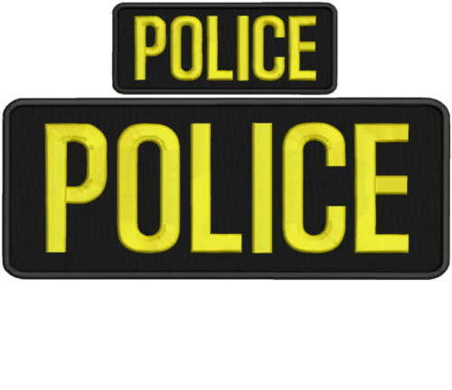police embroidery patch 4x10 and 2x5 hook on back gold