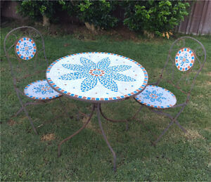 Outdoor 3 Piece Mosaic Table and Chair Setting Stockton Newcastle Area Preview