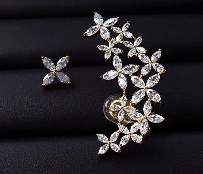 14k Gold Star Cuff Earring made w/ Swarovski Marquise Stone Trendy Jewelry