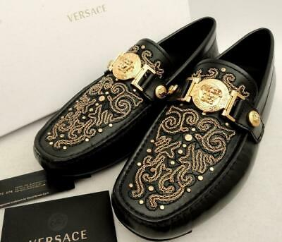 VERSACE Medusa Black Leather Boat Driver Shoes UK5 INSOLE27CM EU39 US6 loafers