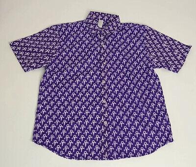 Prince Logo All Over Paisley Park Purple Rain Button Up Shirt Mens Size L NWOT