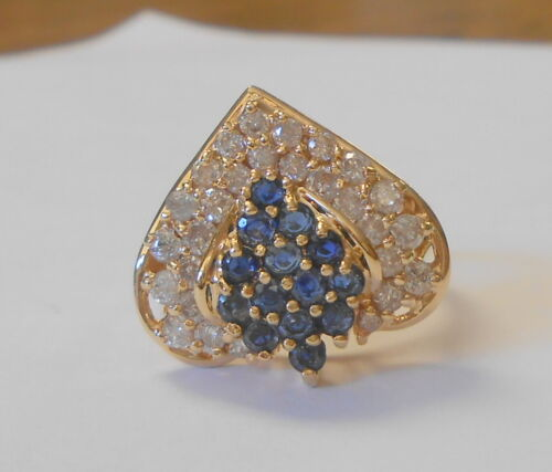 14K Yellow Gold 1 Carat Diamonds 40 Points Blue Sapphire Cluster Ring Size 8