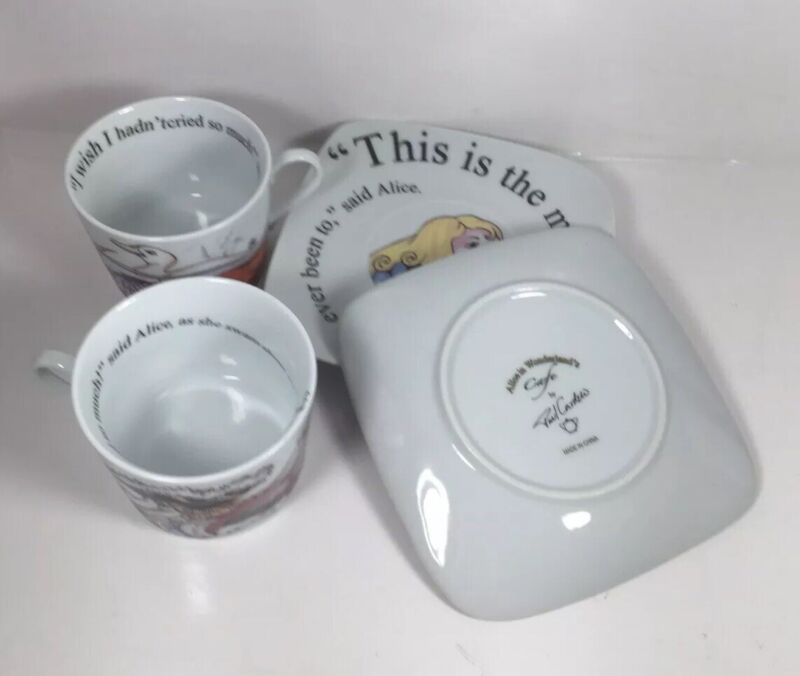 Set Of 2 Teacup And Squared Saucers Alice in Wonderland Cafe By Paul Cardew