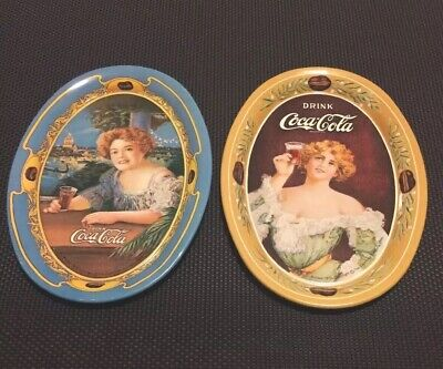 "2  New 6"" x 4"" Oval Coca Cola Collectible Tin Trays  1973"