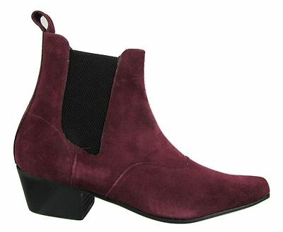 Chelsea Beatle Boots (Retro Mens Burgundy Red Suede Chelsea Beat Boots  Cuban Heel Beatle)