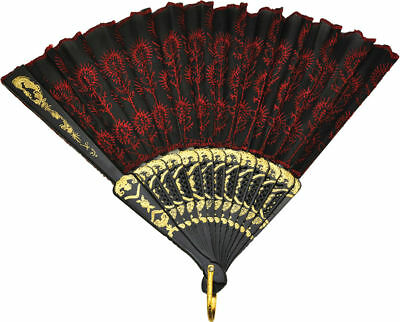 Morris Costumes New Classic Accessories & Makeup Geisha Black Red Fan. - Geisha Costume Accessories