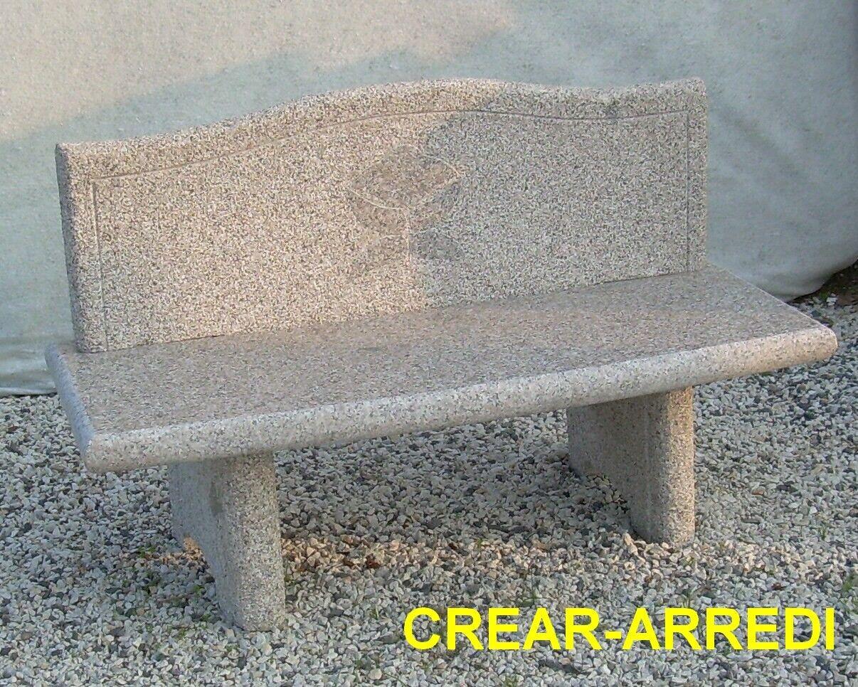 OFFERTA!! Panchina per giardino in pietra granito con schienale L130cm OFFERTA!!