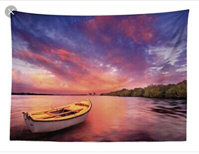 ABAKUHAUS Moroccan Tapestry Boat River Sunset 140x 230
