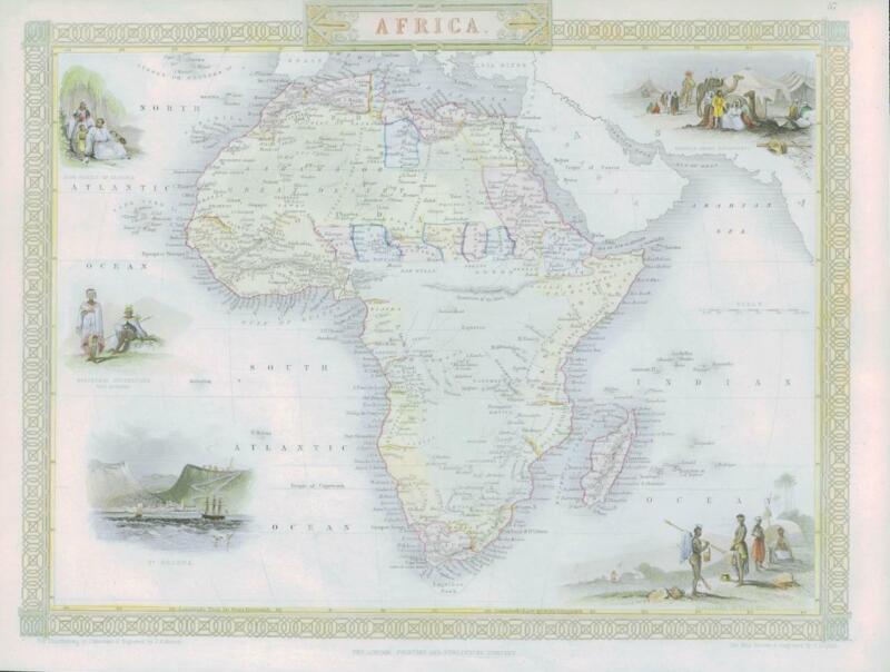 "1850 Original Antique Map of ""AFRICA"" African Continent TALLIS FULL COLOUR (50)"