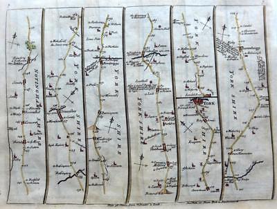 ROAD MAP BY JOHN SENEX c1757  YORKSHIRE YORK LINCOLN NOTTINGHAM NEWARK STAMFORD
