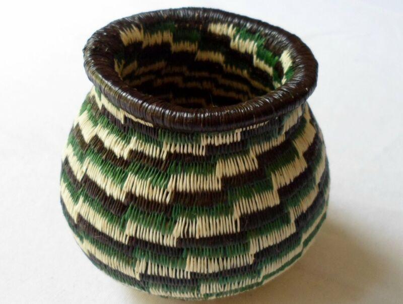 Wounaan Embera Woven Classic Design Basket-Panama 20081305mm