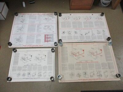 Set Of 4 Vintage 1973 David Brown Case Tractor Wall Charts Hydraulic Schematics