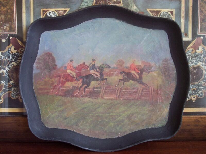 Paper mache painting of jockeys on horses/ horse racing/ Equestrian Scene