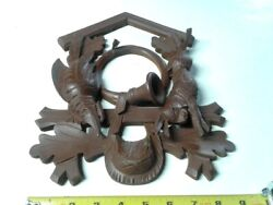 Large Carved Hunter Cuckoo Clock Wood Front Rabbit Pheasant Bird Horn Pouch