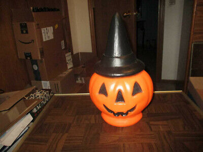 Vintage Halloween Jack' O Lantern/ Pumpkin Wearing Black Hat Light Up Blow