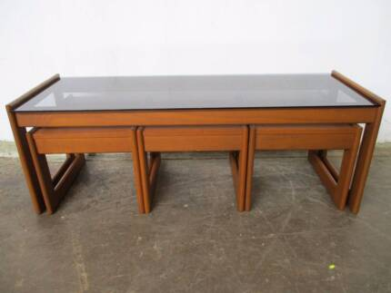 B33035 Vintage RETRO Nest Set 4 Coffee Tables Smoked Glass Top Mount Barker Mount Barker Area Preview