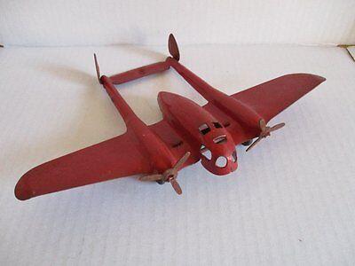 Pre War Plane Tin Toy Vorkrieg Blechspielzeug Flugzeug mit Propeller 22 cm