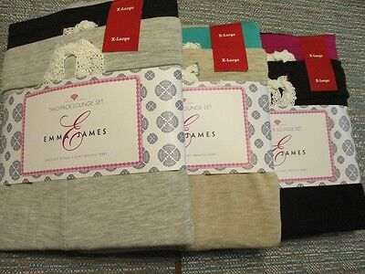 Emma James Polyester 2 PACK French Terry Sleep Short / Pant Set NEW - French Terry Short Set