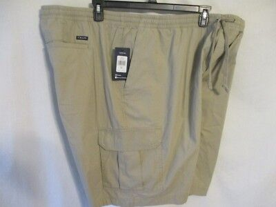 Chaps 100% Cotton  Khaki Elastic Waist Pull on Poplin Cargo Shorts SR$45-72 NEW