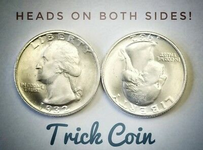 Two Sided 1932 Quarter Two Face Trick Double Headed - Magic Coin