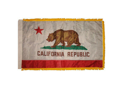 Nylon California State Flag - 3x5 California State Poly Nylon Sleeve w/ Fringe Flag 3'x5' Banner
