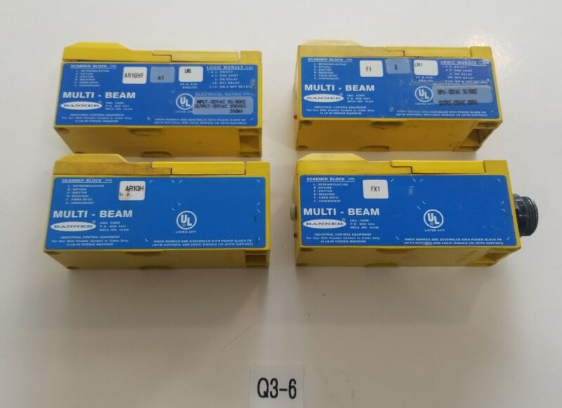 *PREOWNED* LOT OF 4 VARIOUS Banner AR1GH Multi-Beam Scanner Block Logic Module